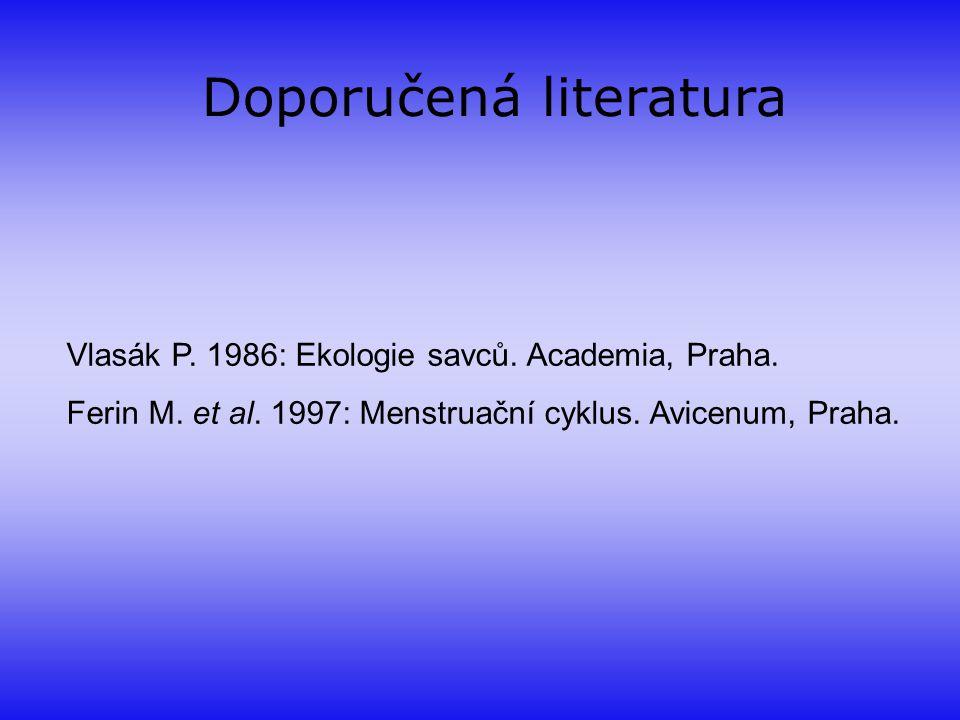 Doporučená literatura Vlasák P. 1986: Ekologie savců. Academia, Praha. Ferin M. et al. 1997: Menstruační cyklus. Avicenum, Praha.