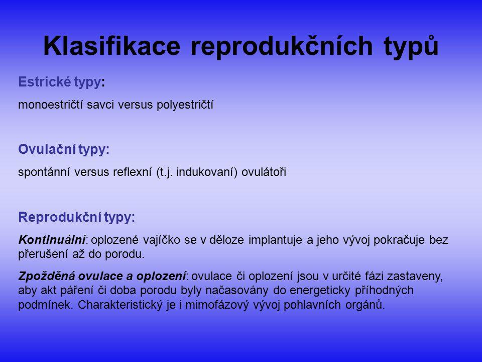 Klasifikace reprodukčních typů Estrické typy: monoestričtí savci versus polyestričtí Ovulační typy: spontánní versus reflexní (t.j. indukovaní) ovulát