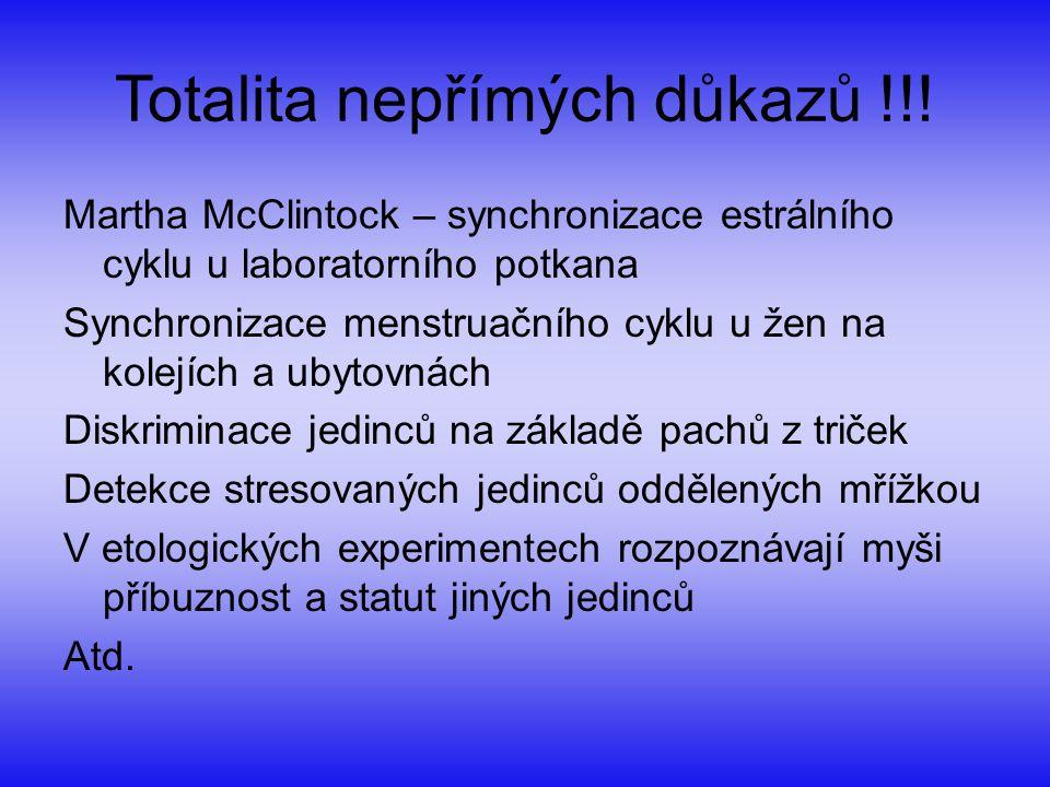 Totalita nepřímých důkazů !!! Martha McClintock – synchronizace estrálního cyklu u laboratorního potkana Synchronizace menstruačního cyklu u žen na ko