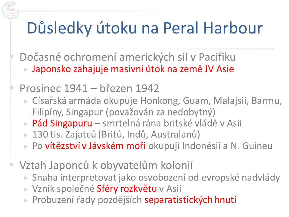 Důsledky útoku na Peral Harbour  Dočasné ochromení amerických sil v Pacifiku  Japonsko zahajuje masivní útok na země JV Asie  Prosinec 1941 – březe