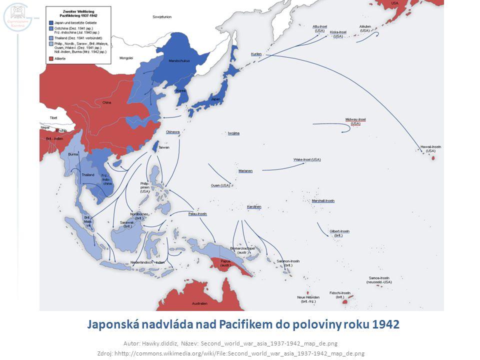 Japonská nadvláda nad Pacifikem do poloviny roku 1942 Autor: Hawky.diddiz, Název: Second_world_war_asia_1937-1942_map_de.png Zdroj: hhttp://commons.wi