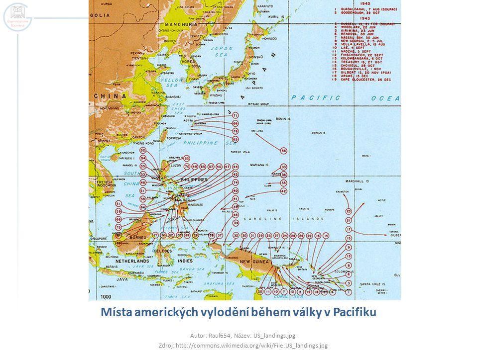 Místa amerických vylodění během války v Pacifiku Autor: Raul654, Název: US_landings.jpg Zdroj: http://commons.wikimedia.org/wiki/File:US_landings.jpg