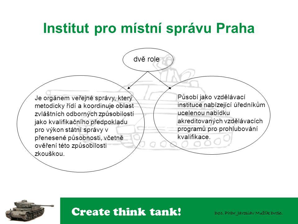 Create think tank! Doc. PhDr. Jaroslav Mužík DrSc. Institut pro místní správu Praha Je orgánem veřejné správy, který metodicky řídí a koordinuje oblas