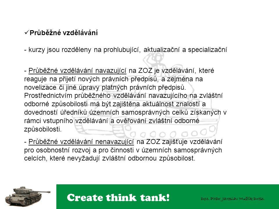 Create think tank! Doc. PhDr. Jaroslav Mužík DrSc. Průběžné vzdělávání - kurzy jsou rozděleny na prohlubující, aktualizační a specializační - Průběžné