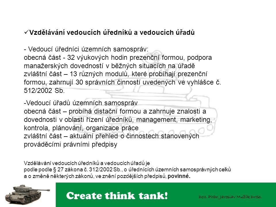 Create think tank! Doc. PhDr. Jaroslav Mužík DrSc. Vzdělávání vedoucích úředníků a vedoucích úřadů - Vedoucí úředníci územních samospráv: obecná část
