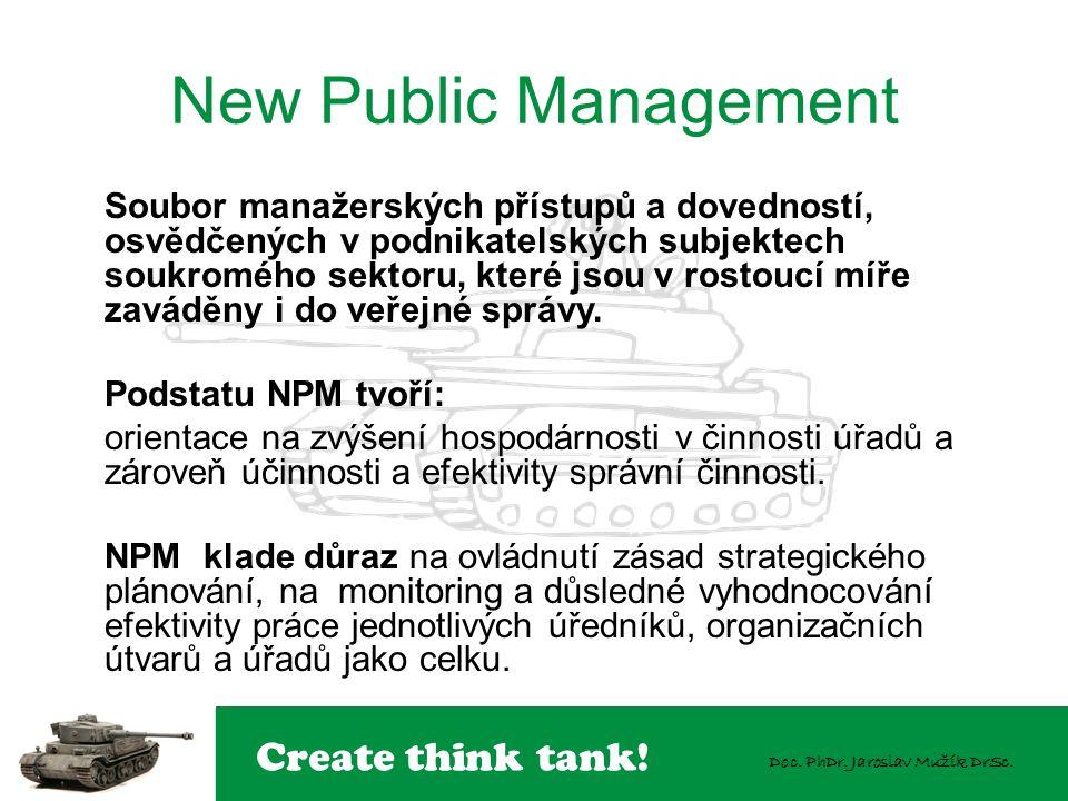 Create think tank! Doc. PhDr. Jaroslav Mužík DrSc. New Public Management Soubor manažerských přístupů a dovedností, osvědčených v podnikatelských subj