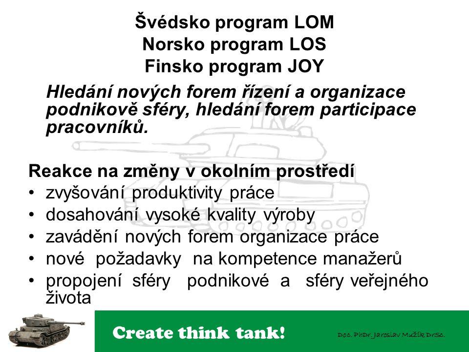 Create think tank! Doc. PhDr. Jaroslav Mužík DrSc. Švédsko program LOM Norsko program LOS Finsko program JOY Hledání nových forem řízení a organizace
