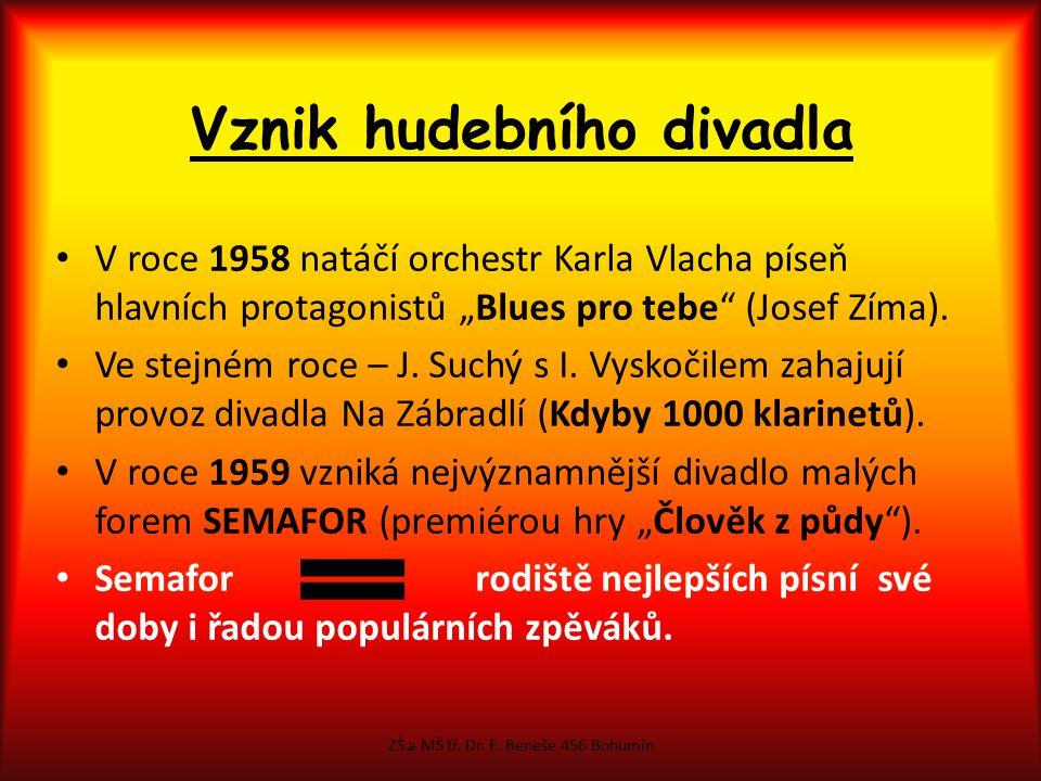 Zakladatelé SEMAFORU Jiří Šlitr - klavíristaJiří Suchý – basista, zpěvák, textař ZŠ a MŠ tř. Dr. E. Beneše 456 Bohumín