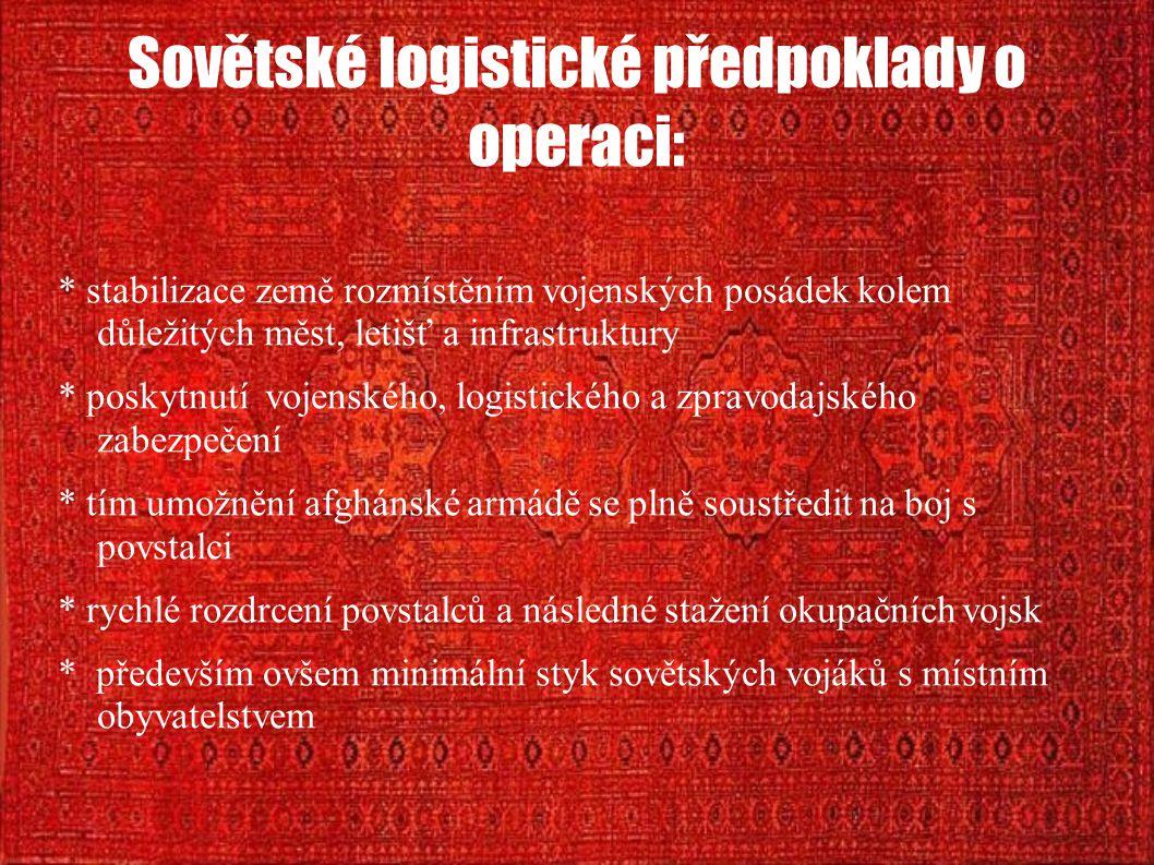 Sovětské logistické předpoklady o operaci: * stabilizace země rozmístěním vojenských posádek kolem důležitých měst, letišť a infrastruktury * poskytnu