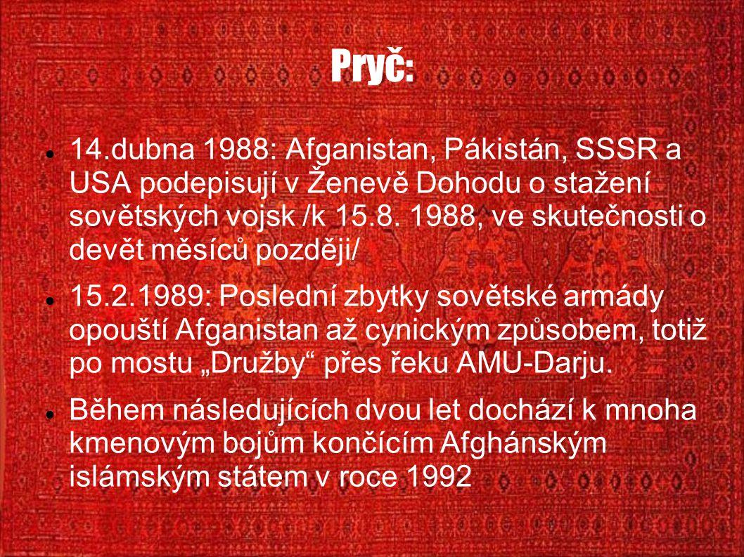 Pryč: 14.dubna 1988: Afganistan, Pákistán, SSSR a USA podepisují v Ženevě Dohodu o stažení sovětských vojsk /k 15.8. 1988, ve skutečnosti o devět měsí