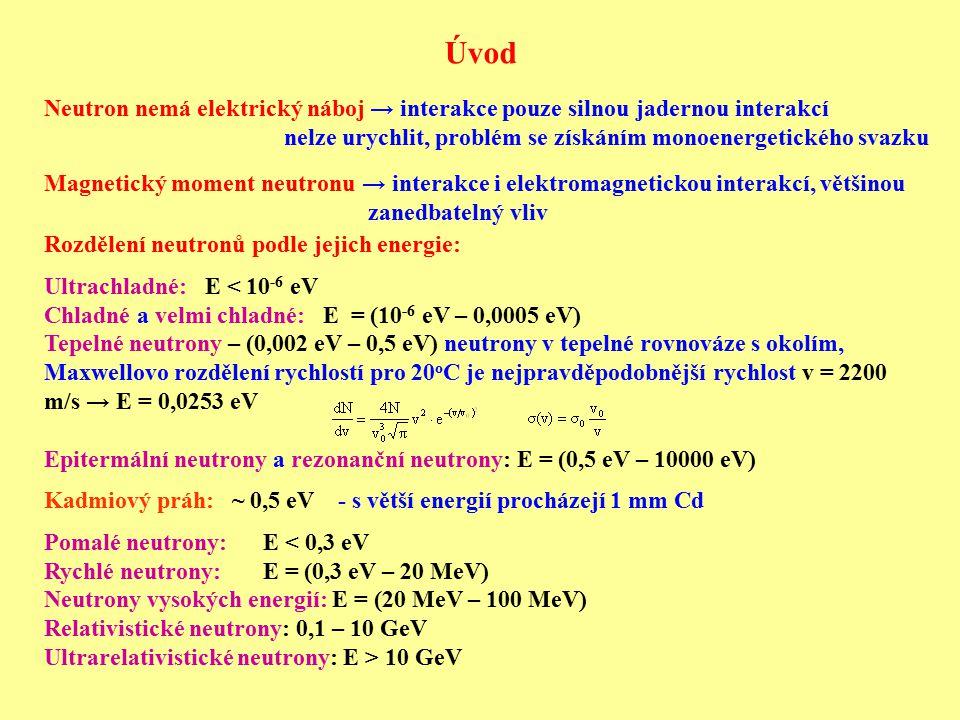 Úvod Neutron nemá elektrický náboj → interakce pouze silnou jadernou interakcí nelze urychlit, problém se získáním monoenergetického svazku Magnetický