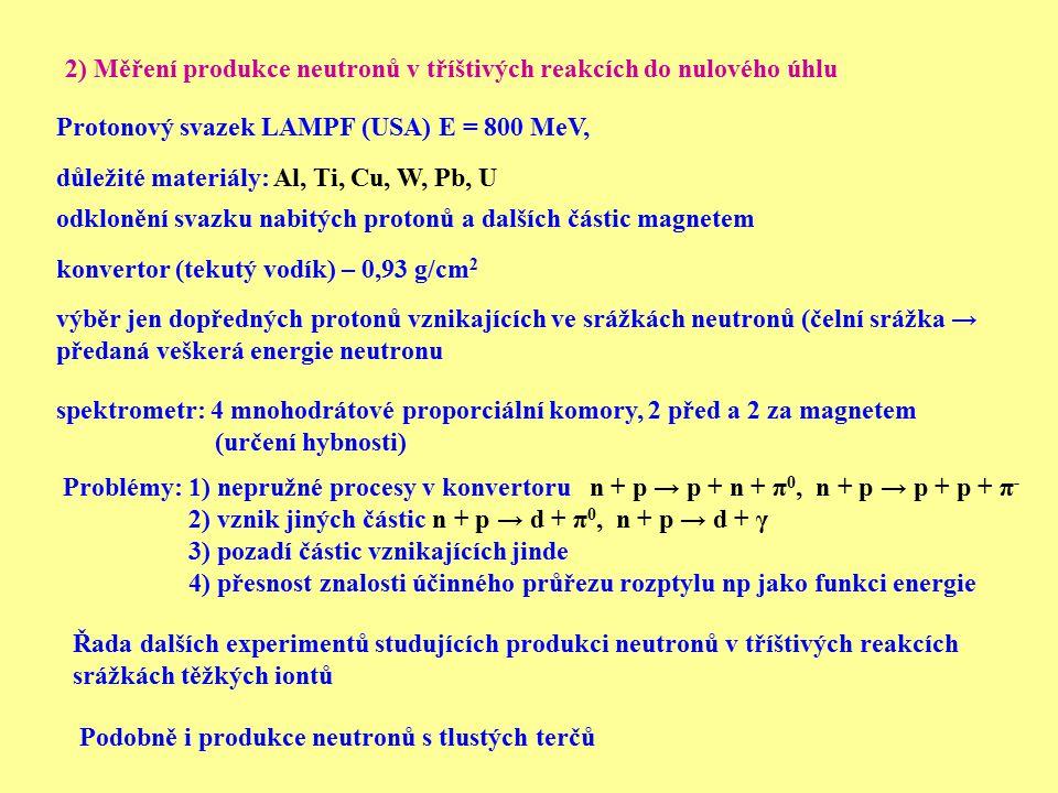 2) Měření produkce neutronů v tříštivých reakcích do nulového úhlu odklonění svazku nabitých protonů a dalších částic magnetem výběr jen dopředných pr