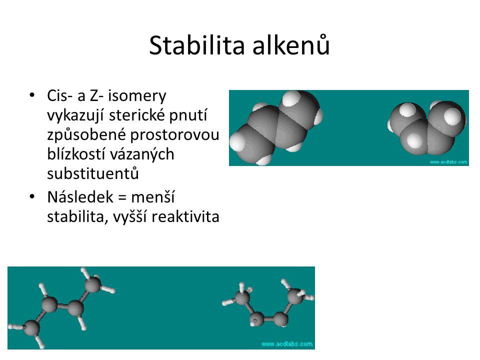 Stabilita alkenů Cis- a Z- isomery vykazují sterické pnutí způsobené prostorovou blízkostí vázaných substituentů Následek = menší stabilita, vyšší rea