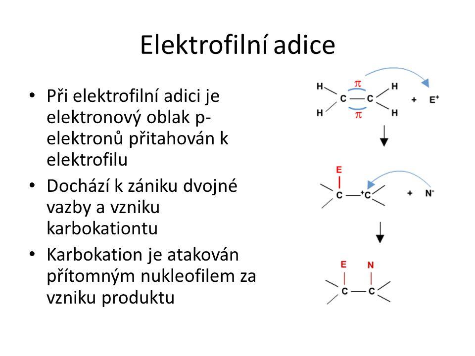 Elektrofilní adice Při elektrofilní adici je elektronový oblak p- elektronů přitahován k elektrofilu Dochází k zániku dvojné vazby a vzniku karbokatio