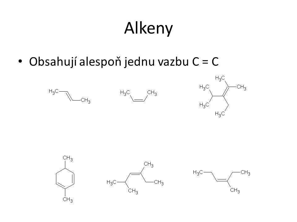 Stabilita karbokationtů a Markovnikovovo prvidlo Karbokationty mají stejnou strukturu jako radikály Více substituované karbokationty jsou stabilnější než méně substituované (hyperkonjugace) Vícesubstituované kationty vznikají rychleji a ve větší míře => atakující nukleofil je tak vázán na vícesubstituovaný uhlík dvojné vazby Markovnikovovo pravidlo: Při elektrofilní adici se elektrofil (H + ) váže na méně substituovaný uhlík dvojné vazby a nukleofil na vícesubstituovaný uhlík dvojné vazby.
