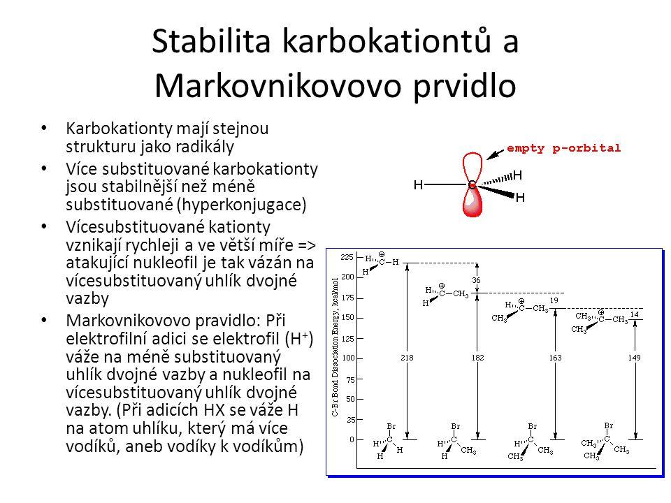 Stabilita karbokationtů a Markovnikovovo prvidlo Karbokationty mají stejnou strukturu jako radikály Více substituované karbokationty jsou stabilnější
