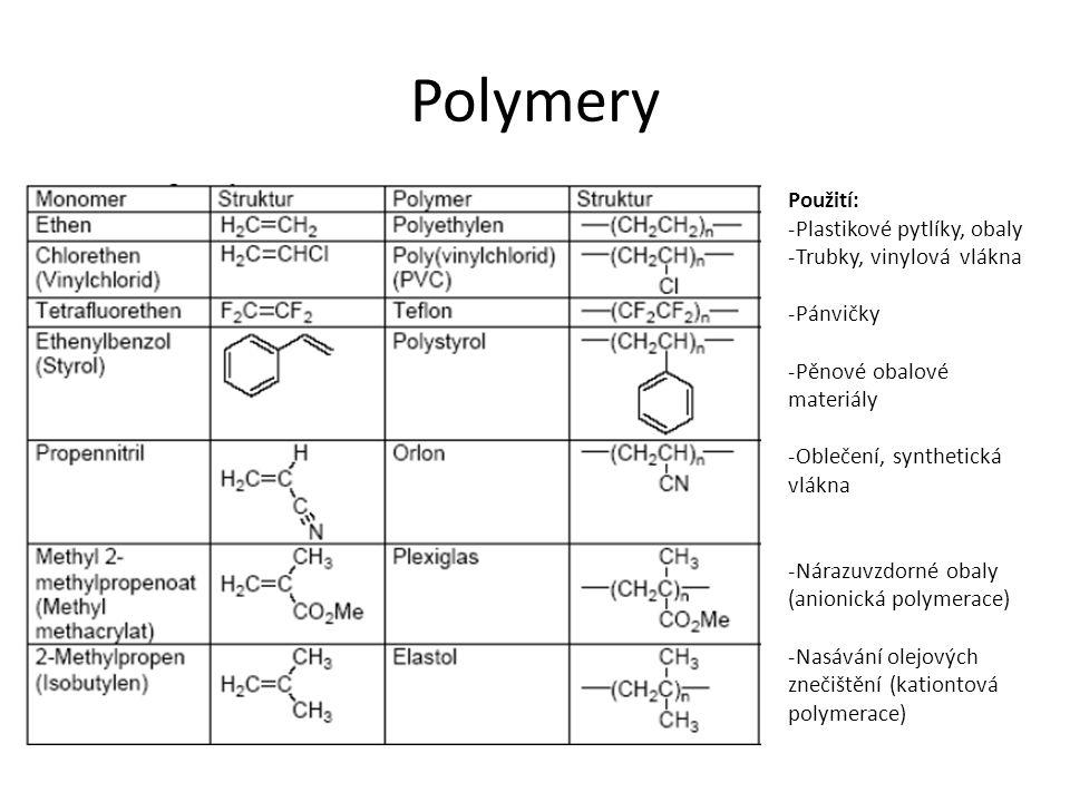 Polymery Použití: -Plastikové pytlíky, obaly -Trubky, vinylová vlákna -Pánvičky -Pěnové obalové materiály -Oblečení, synthetická vlákna -Nárazuvzdorné