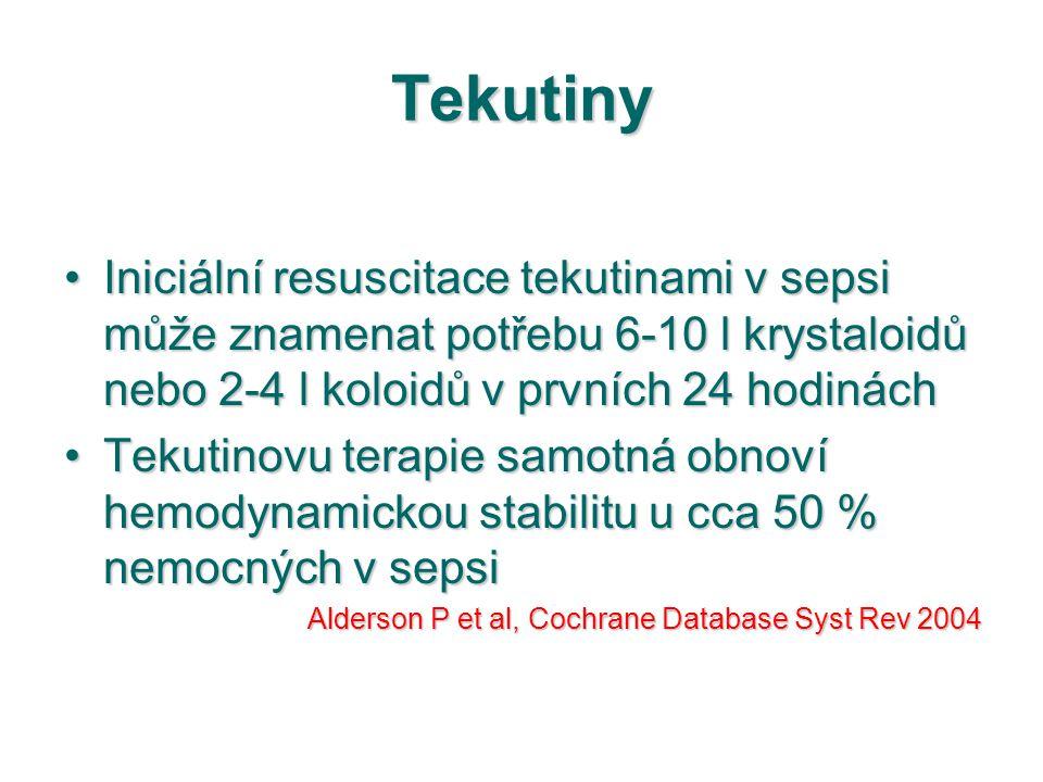 Tekutiny Iniciální resuscitace tekutinami v sepsi může znamenat potřebu 6-10 l krystaloidů nebo 2-4 l koloidů v prvních 24 hodináchIniciální resuscita