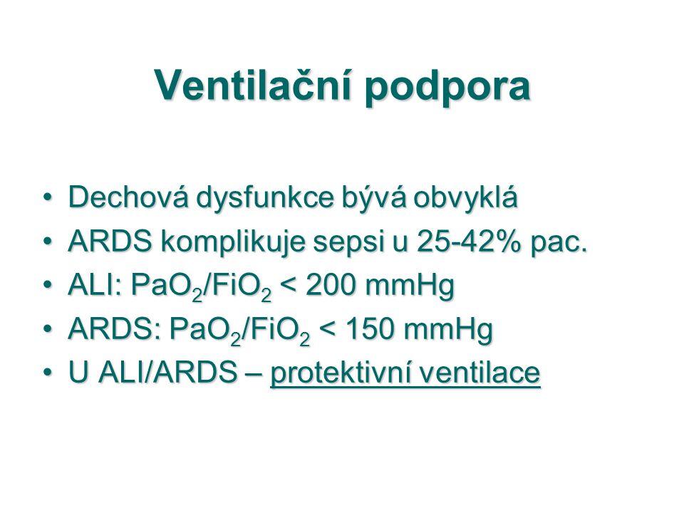 Ventilační podpora Dechová dysfunkce bývá obvykláDechová dysfunkce bývá obvyklá ARDS komplikuje sepsi u 25-42% pac.ARDS komplikuje sepsi u 25-42% pac.