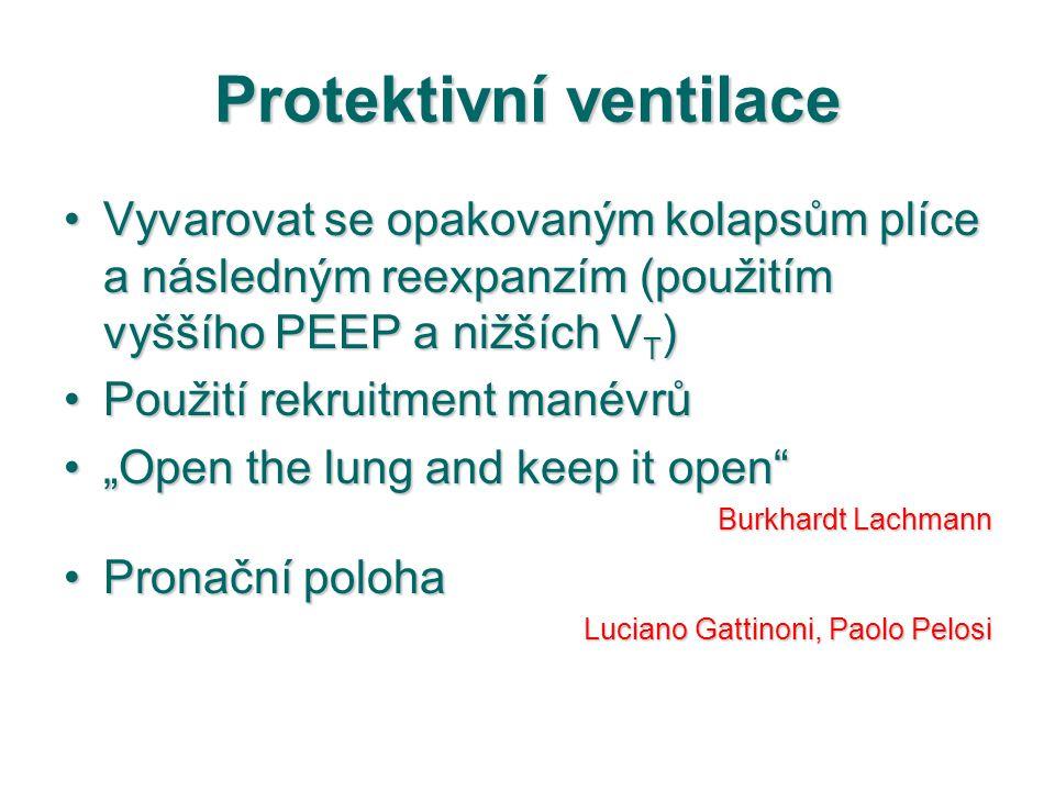 Protektivní ventilace Vyvarovat se opakovaným kolapsům plíce a následným reexpanzím (použitím vyššího PEEP a nižších V T )Vyvarovat se opakovaným kola