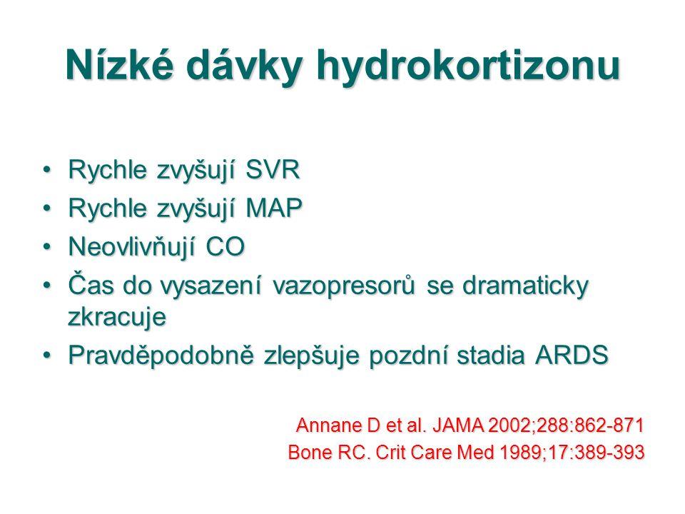 Nízké dávky hydrokortizonu Rychle zvyšují SVRRychle zvyšují SVR Rychle zvyšují MAPRychle zvyšují MAP Neovlivňují CONeovlivňují CO Čas do vysazení vazo