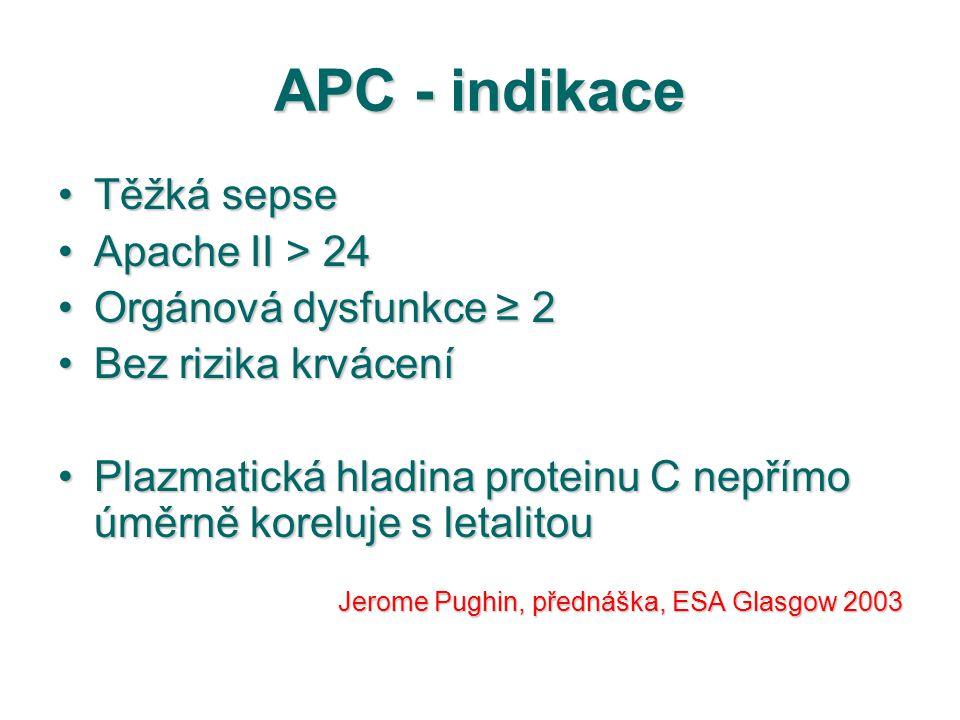 APC - indikace Těžká sepseTěžká sepse Apache II > 24Apache II > 24 Orgánová dysfunkce ≥ 2Orgánová dysfunkce ≥ 2 Bez rizika krváceníBez rizika krvácení
