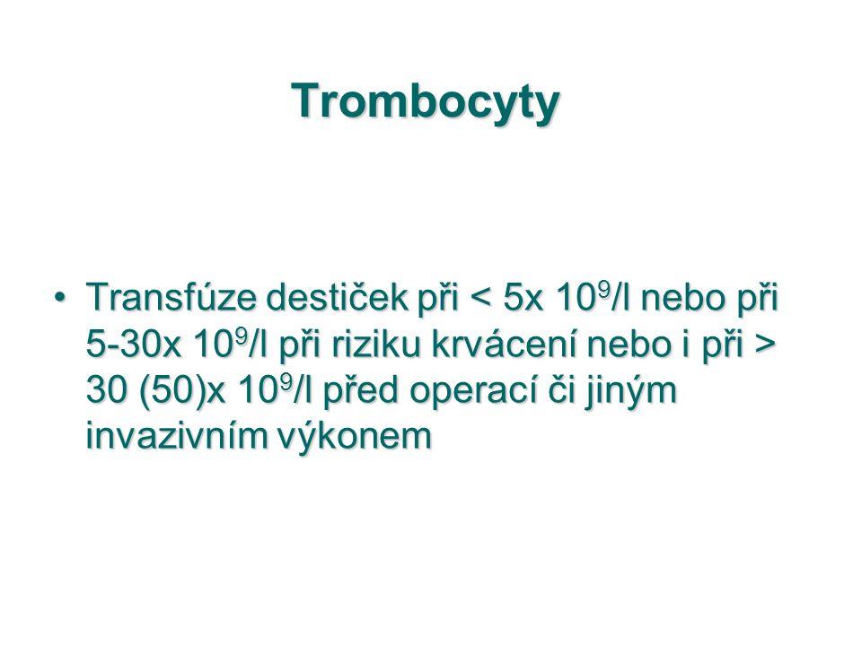 Trombocyty Transfúze destiček při 30 (50)x 10 9 /l před operací či jiným invazivním výkonemTransfúze destiček při 30 (50)x 10 9 /l před operací či jin