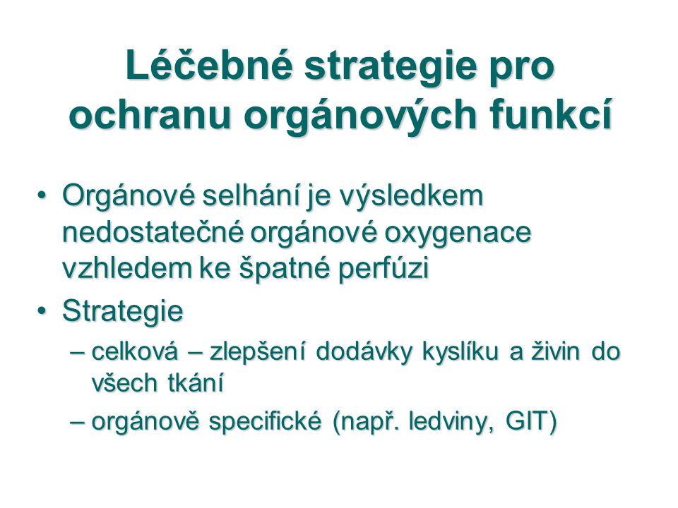 Léčebné strategie pro ochranu orgánových funkcí Orgánové selhání je výsledkem nedostatečné orgánové oxygenace vzhledem ke špatné perfúziOrgánové selhá