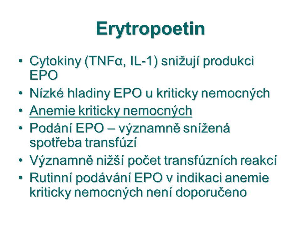 Erytropoetin Cytokiny (TNFα, IL-1) snižují produkci EPOCytokiny (TNFα, IL-1) snižují produkci EPO Nízké hladiny EPO u kriticky nemocnýchNízké hladiny