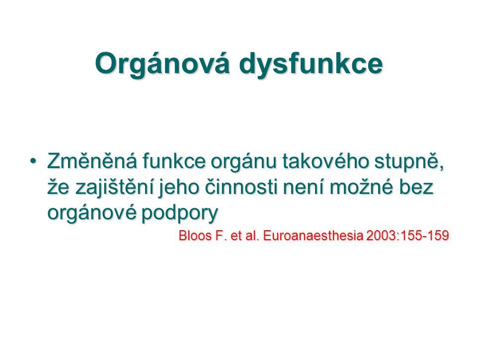 Orgánová dysfunkce Změněná funkce orgánu takového stupně, že zajištění jeho činnosti není možné bez orgánové podporyZměněná funkce orgánu takového stu