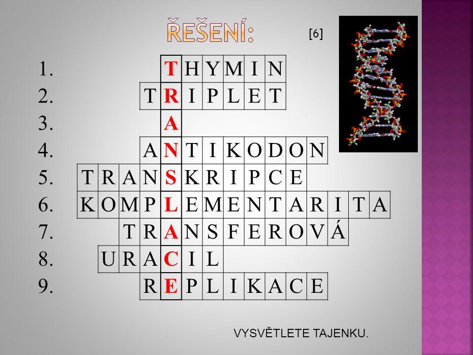 1. 2. 3. 4. 5. 6. 7. 8. 9. 1.Dusíkatá organická báze označovaná jako T. 2.Kodon jinak. 3.Označení pro adenin. 4.Každý kodon mRNA hledá svůj … 5.Přepis