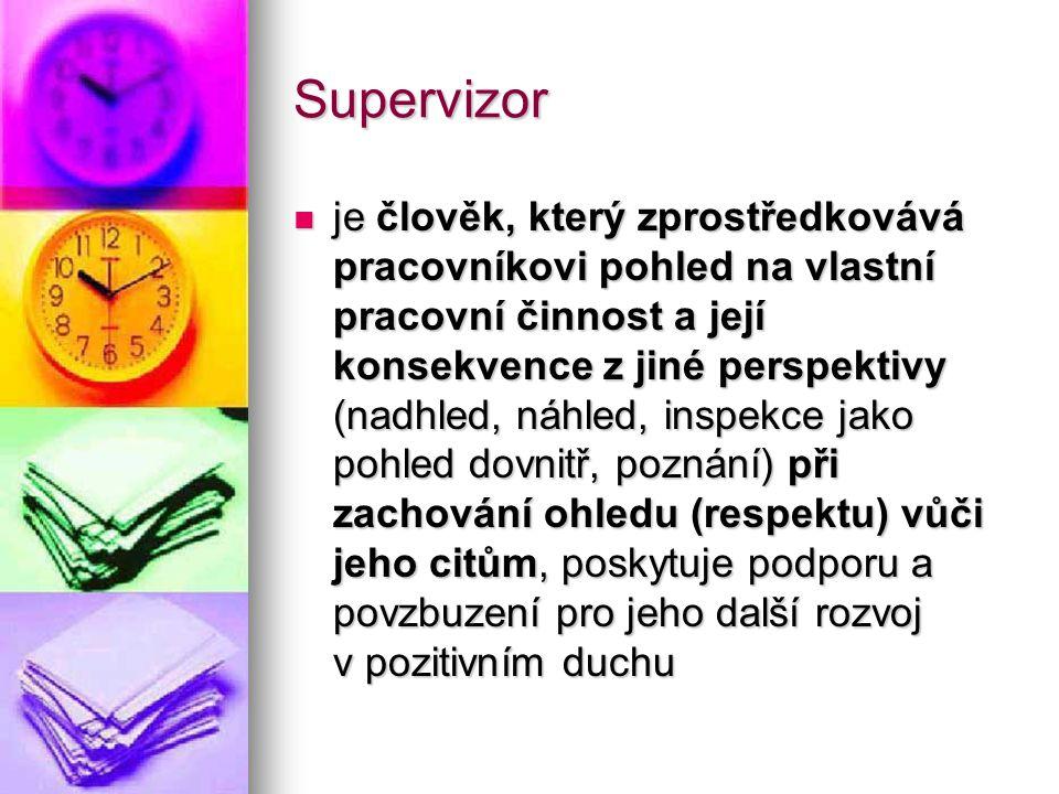 Supervizor je člověk, který zprostředkovává pracovníkovi pohled na vlastní pracovní činnost a její konsekvence z jiné perspektivy (nadhled, náhled, in
