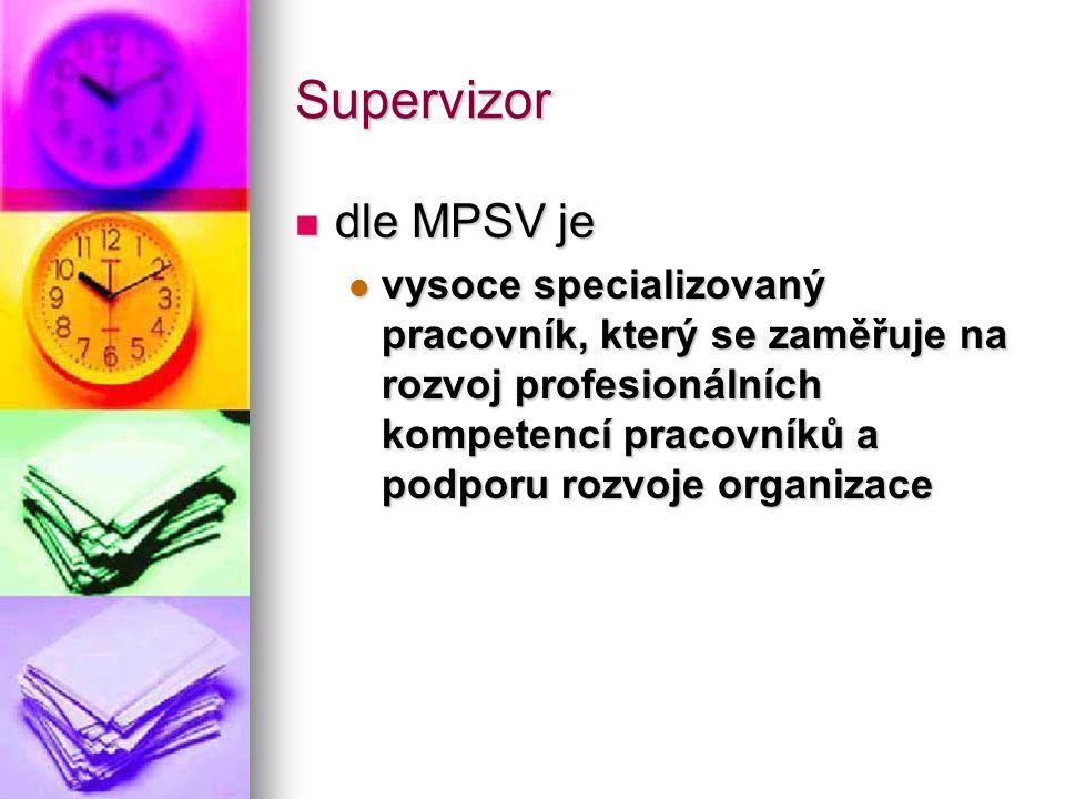 Supervizor dle MPSV je dle MPSV je vysoce specializovaný pracovník, který se zaměřuje na rozvoj profesionálních kompetencí pracovníků a podporu rozvoj