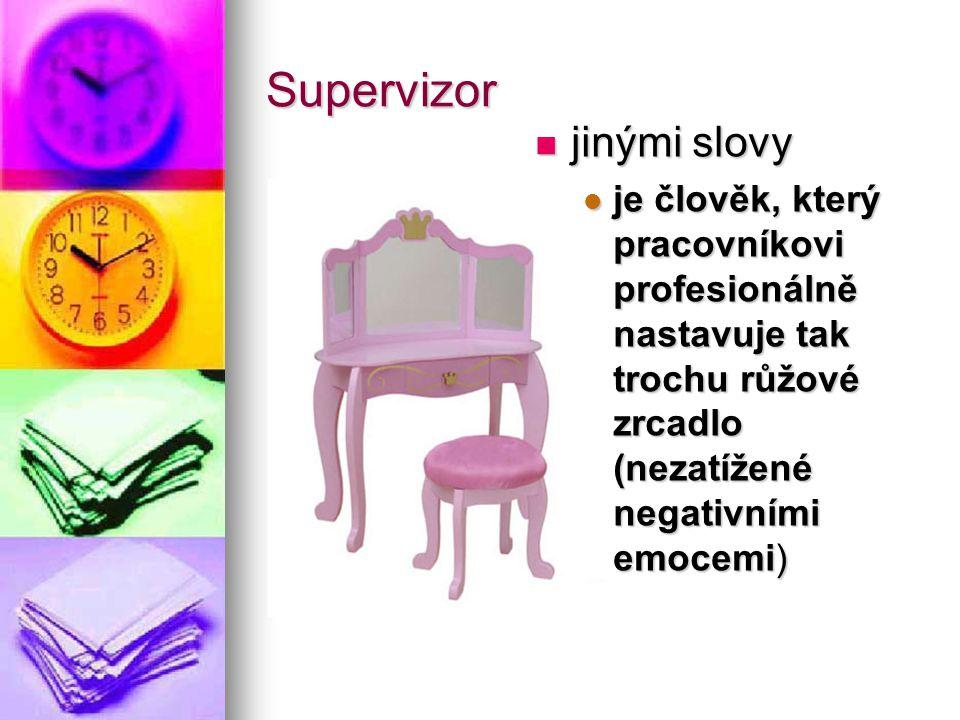 Supervizor jinými slovy jinými slovy je člověk, který pracovníkovi profesionálně nastavuje tak trochu růžové zrcadlo (nezatížené negativními emocemi)