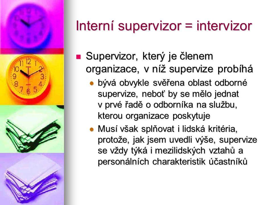 Interní supervizor = intervizor Supervizor, který je členem organizace, v níž supervize probíhá Supervizor, který je členem organizace, v níž superviz