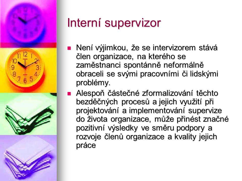 Interní supervizor Není výjimkou, že se intervizorem stává člen organizace, na kterého se zaměstnanci spontánně neformálně obraceli se svými pracovním