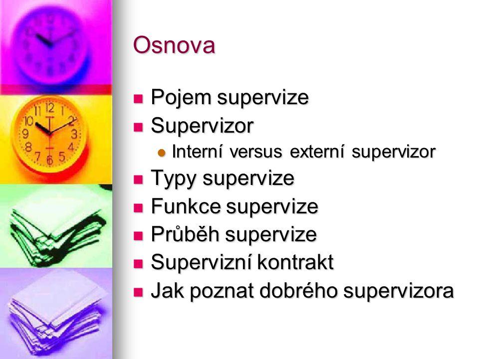 Osnova Pojem supervize Pojem supervize Supervizor Supervizor Interní versus externí supervizor Interní versus externí supervizor Typy supervize Typy s
