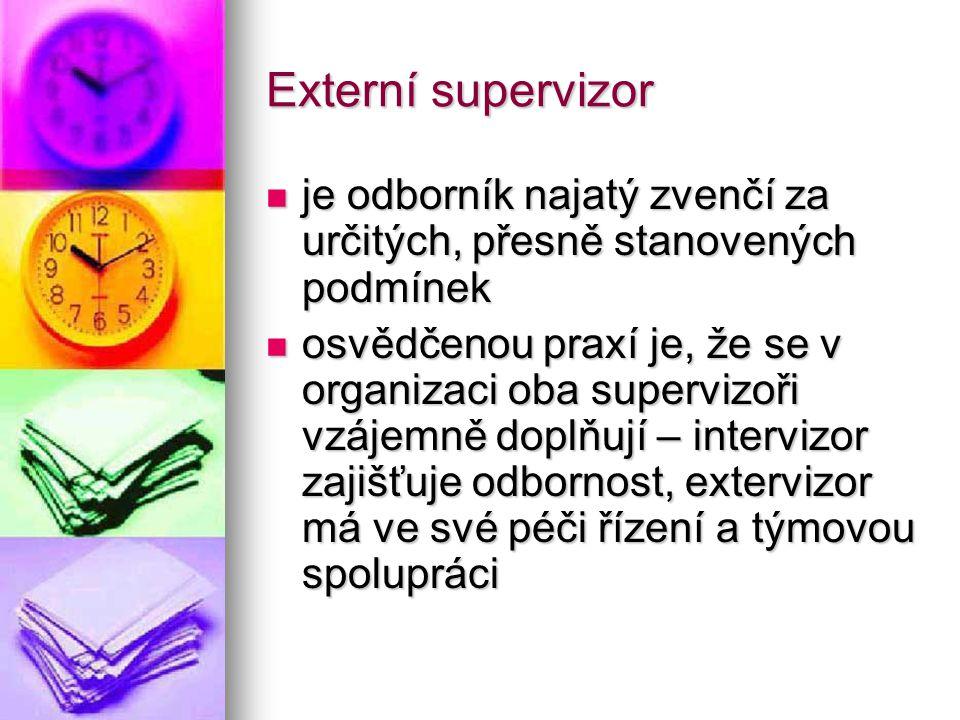 Externí supervizor je odborník najatý zvenčí za určitých, přesně stanovených podmínek je odborník najatý zvenčí za určitých, přesně stanovených podmín