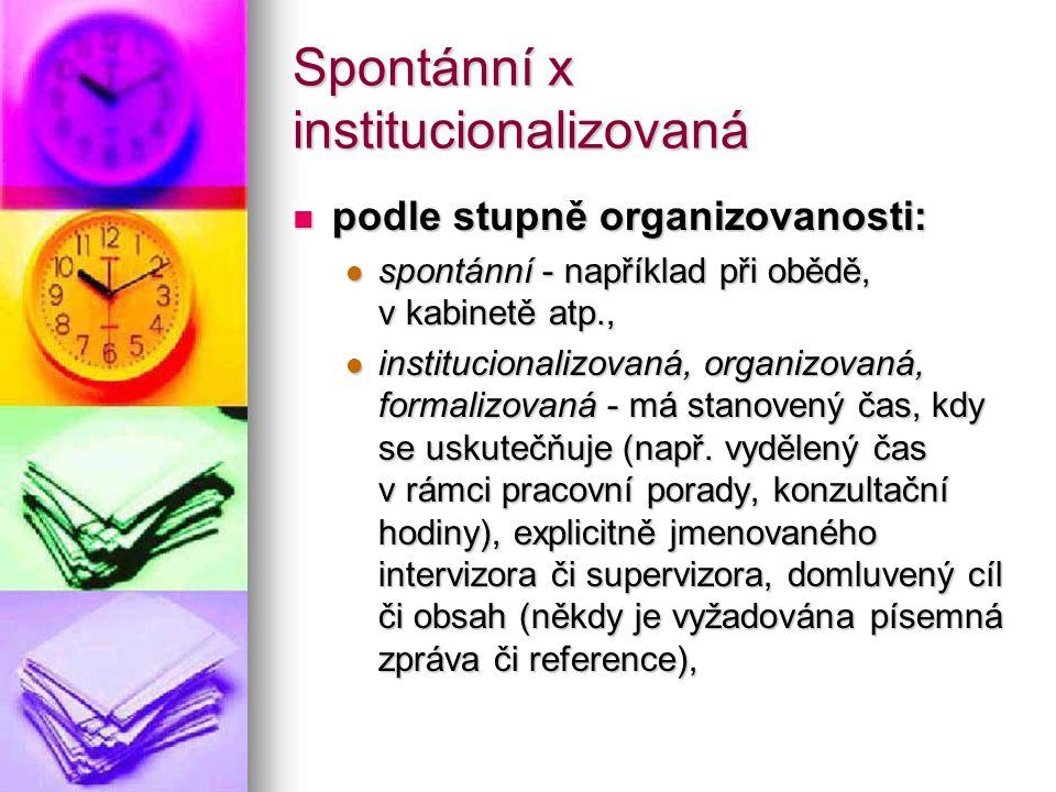 Spontánní x institucionalizovaná podle stupně organizovanosti: podle stupně organizovanosti: spontánní - například při obědě, v kabinetě atp., spontán