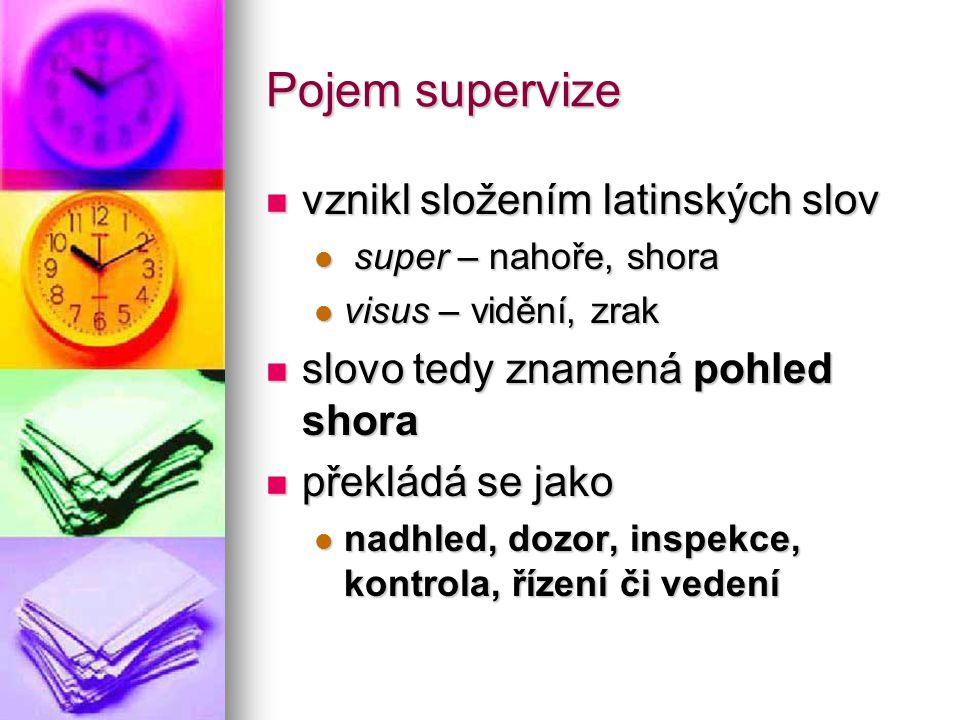 Pojem supervize vznikl složením latinských slov vznikl složením latinských slov super – nahoře, shora super – nahoře, shora visus – vidění, zrak visus