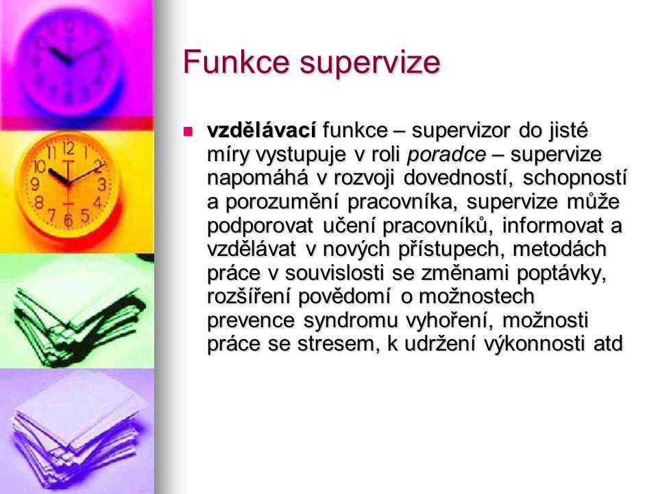 Funkce supervize vzdělávací funkce – supervizor do jisté míry vystupuje v roli poradce – supervize napomáhá v rozvoji dovedností, schopností a porozum