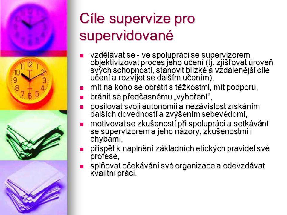 Cíle supervize pro supervidované vzdělávat se - ve spolupráci se supervizorem objektivizovat proces jeho učení (tj. zjišťovat úroveň svých schopností,
