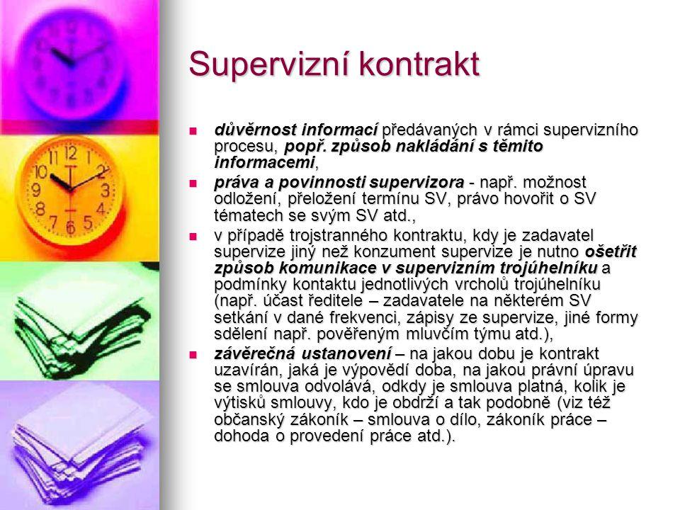 Supervizní kontrakt důvěrnost informací předávaných v rámci supervizního procesu, popř. způsob nakládání s těmito informacemi, důvěrnost informací pře