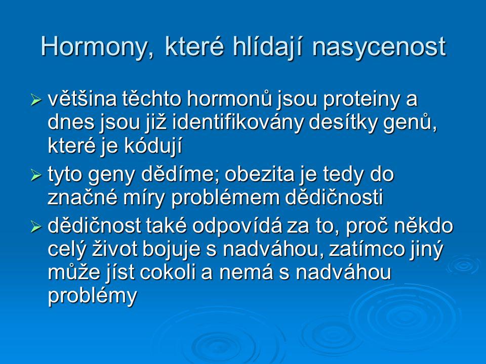 Hormony, které hlídají nasycenost  většina těchto hormonů jsou proteiny a dnes jsou již identifikovány desítky genů, které je kódují  tyto geny dědí
