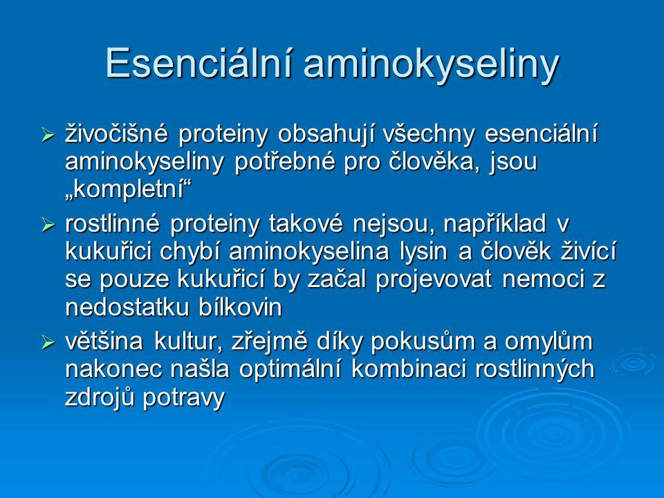"""Esenciální aminokyseliny  živočišné proteiny obsahují všechny esenciální aminokyseliny potřebné pro člověka, jsou """"kompletní""""  rostlinné proteiny ta"""