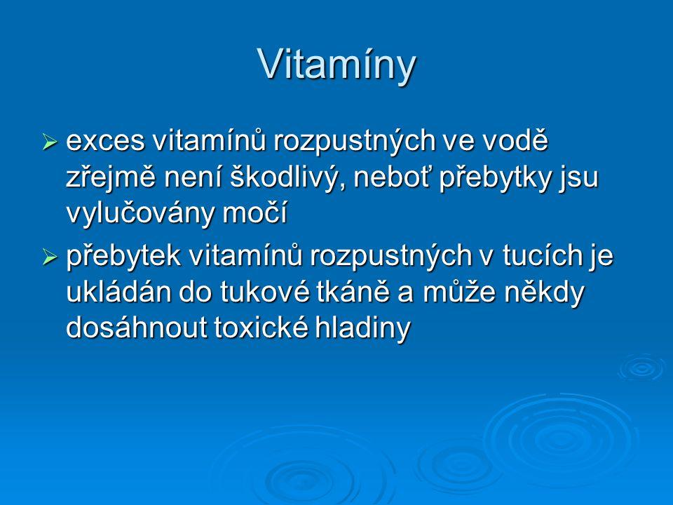 Vitamíny  exces vitamínů rozpustných ve vodě zřejmě není škodlivý, neboť přebytky jsu vylučovány močí  přebytek vitamínů rozpustných v tucích je ukl