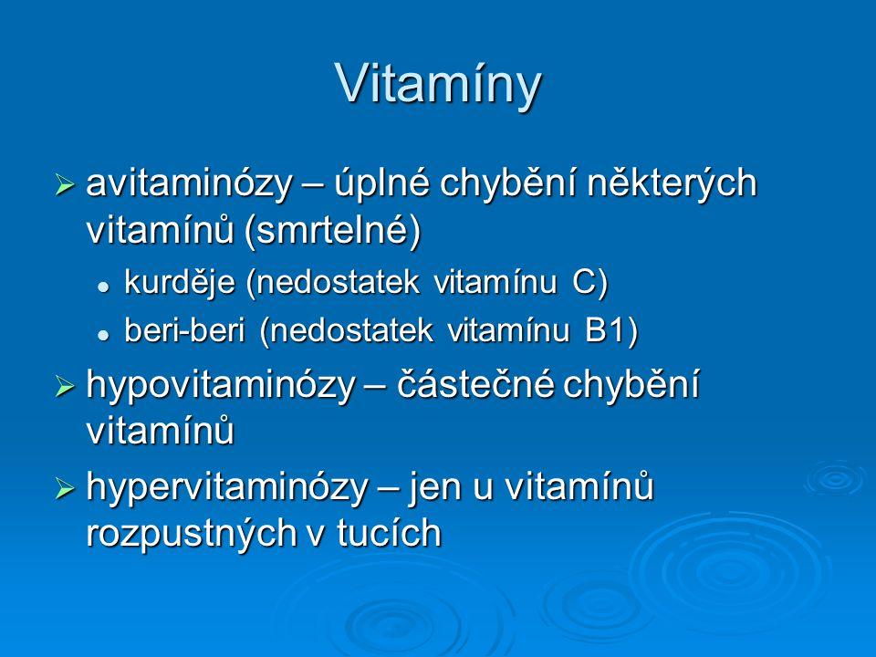Vitamíny  avitaminózy – úplné chybění některých vitamínů (smrtelné) kurděje (nedostatek vitamínu C) kurděje (nedostatek vitamínu C) beri-beri (nedost