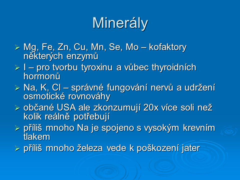 Minerály  Mg, Fe, Zn, Cu, Mn, Se, Mo – kofaktory některých enzymů  I – pro tvorbu tyroxinu a vůbec thyroidních hormonů  Na, K, Cl – správné fungová