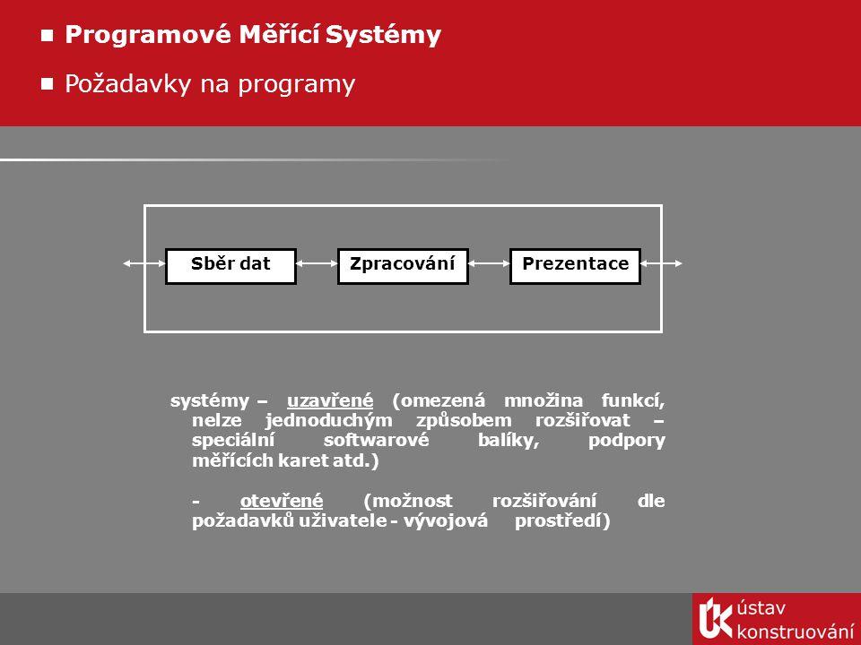 Měřící systémy na trhu - WaveTest (tvorba řídících programů pro GPIB nebo VXI systémy) - LabVIEW (grafický programovací jazyk) - LabWindows/CVI (textový jazyk pro tvorbu měřicích systémů) - BridgeVIEW (monitorování a řízení technologických procesů, technologie jako LabVIEW) - DasyLab (grafický systém pro sběr a zpracování dat, jednodušší jak LabVIEW) Programové Měřící Systémy - Labtech Control (monitorování prům.