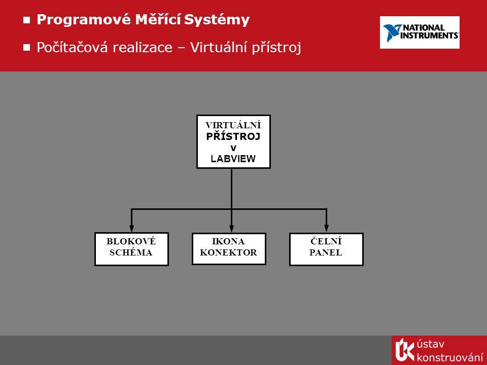 IKONA KONEKTOR BLOKOVÉ SCHÉMA ČELNÍ PANEL VIRTUÁLNÍ PŘÍSTROJ v LABVIEW Programové Měřící Systémy Počítačová realizace – Virtuální přístroj